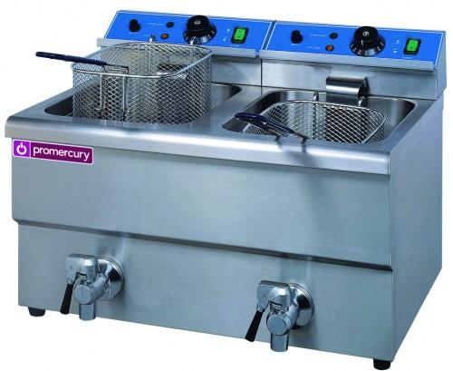 Freidora eléctrica sobremesa en acero inoxidable de capacidad 12+12 litros