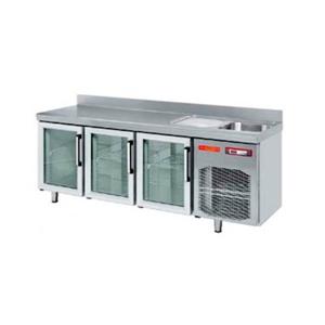 Mesa refrigerada puertas de cristal para hostelería