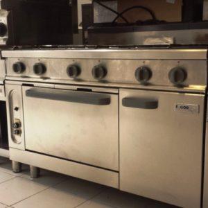 Cocina a gas 6 fuegos con horno repagas serie 750 for Cocina restaurante segunda mano