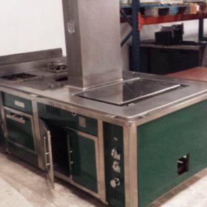 Cocina charvet color verde. Maquinaria y mobiliario de hostelería