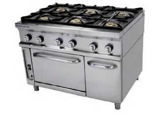Cocina a gas 6 fuegos con horno repagas serie 750 for Cocina 6 fuegos industrial
