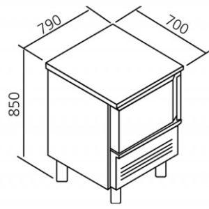 MEDIDAS Mesas abatidores- congeladores 5 GN 1/1