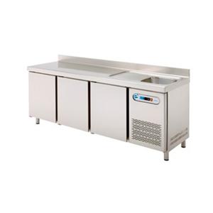 Mesa fría con fregadero para hostelería