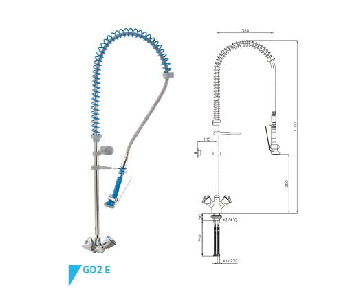grifo ducha dos aguas GD 2 E