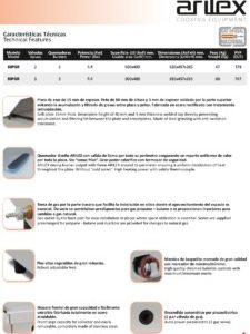 Caracteristicas plancha gas PGR ARILEX